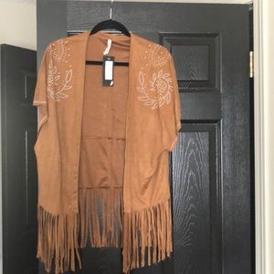 Nastygal Brien Suede Fringe Kimono with tags on